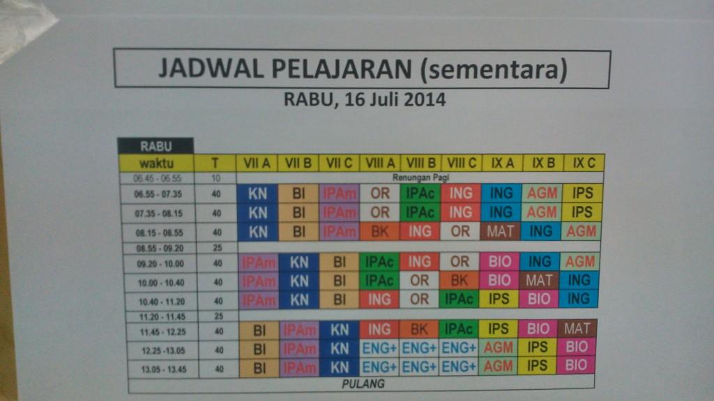 Jadwal Pelajaran SMPK  St. Paulus