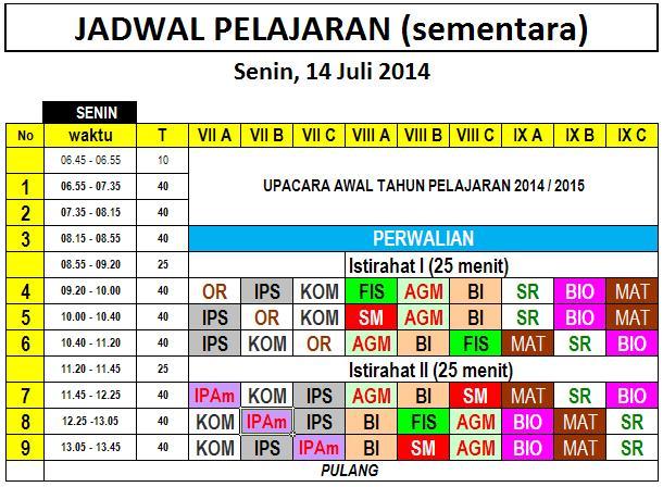 jadwal sementara smp paulus Senin 14 Juli 2014