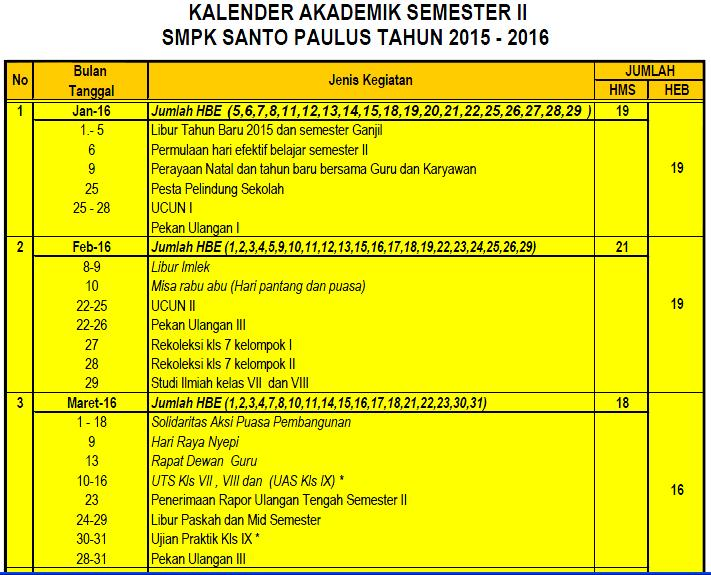 kalender akademik SMP PAULUS